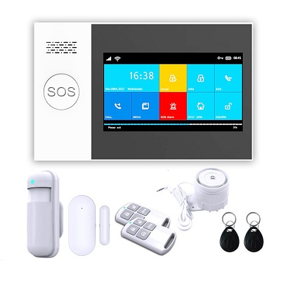 Bộ Báo Động Chống Trộm GW05 Qua WIFI + Sim GSM Màn Hình Màu Cảm Ứng