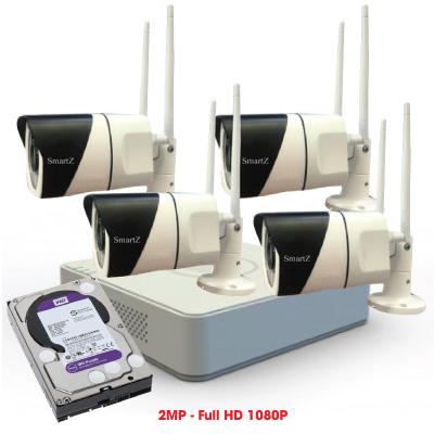 Trọn Bộ 4 Camera IP Wifi 2MP Full HD